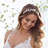 SWEETV Bohémien Headbands Mariage Bandeaux Cheveux Perle Bandeau à Bijoux Tiare Cristal accessoire coiffure mariage pour Femmes, Or