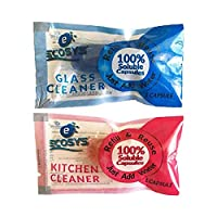 Ecosys Refill Pack of 2: Glass Cleaner & Kitchen Cleaner water soluble capsule each-1Litre