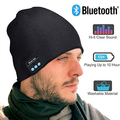 EVERSEE Bluetooth Mütze Männer & Frauen Geschenke, Bluetooth Mütze mit Bluetooth 5.0 Kopfhörern, Unisex Winter Strickmütze mit Kopfhörern Bluetooth Outdoor-Sport, Skifahren, Laufen