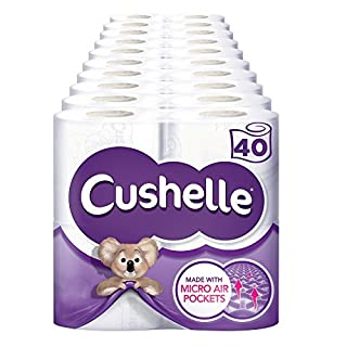 Cushelle Toilet Tissue White 4 Rolls (Pack of 10, Total 40 Rolls)