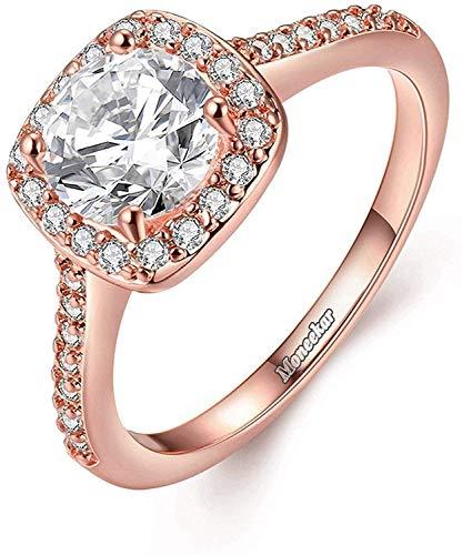 ForeverWithYou Ewige Liebe Frauen-18K Rose Gold und Silber überzogene CZ-Kristallverlobungsringe Beste Versprechen Ringe Jahrestag Bands für Dame Girl
