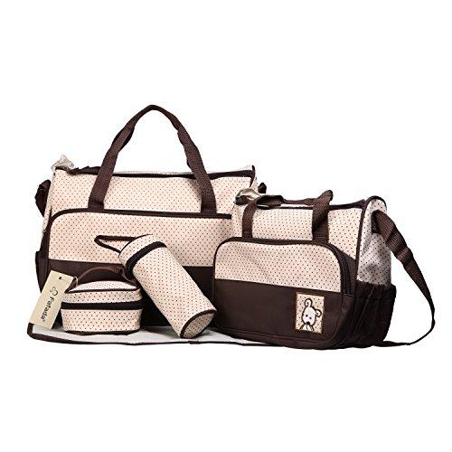 Fafada 5tlg. Schwangerschaft Tasche Baby Windel Wickeltasche Multifunktionale Mama Handtasche Kaffee