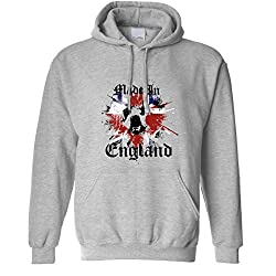 Tim And Ted Made In England British Bulldog Paint Splat Patriotic Present English Dog Breed Cool Patriot Birthplace London Capital Novelty Printed Unisex Hoodie Cool Birthday Gift Present by Tim and Ted