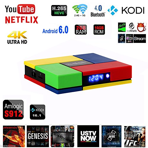 Kasit 2017 The Latest T95K Pro Android 6.0 TV-Box Amlogic S912 Octa Core 2GB / 16GB Aktuelle Chipsatz mit KODI 16.1 Vorinstallierte 1000M Lan Bluetooth4.0 Dual Wifi Gigabit Streaming Media Player (Europäische Standard-Stecker)