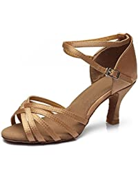 YFF Damen Leder Latin Dance Schuhe Closed-toe Ballroom Tango Salsa tanzen Heels Schuhe, 5 Silber, 6.5 LEIT