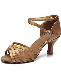 YFF Tanz Schuhe hochhackige Tango Ballroom Latin Salsa für Frauen, GOLD 7 CM, 6.