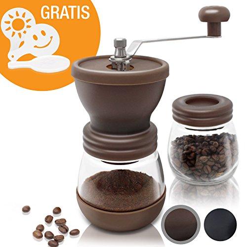 Amazy manuelle Kaffeemühle inkl. Extra-Behälter + 16 Schablonen - Handbetriebene Mühle mit Keramikmahlwerk für feinsten, frischgemahlenen Kaffee (Braun)