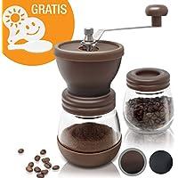 Amazy manuelle Kaffeemühle inkl. Extra-Behälter + 16 Schablonen – Handbetriebene Mühle mit Keramikmahlwerk für feinsten, frischgemahlenen Kaffee (Braun)