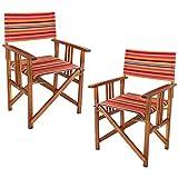 COM-FOUR® 2x Edler Regiestuhl aus Akazienholz mit schönem Bezug, Gartenstuhl, ideal für Ihren Außenbereich