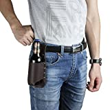 Beer Holster Leather Bottle Can Holder - ZHUBANG Cowboy Genuine Leather Beer Holster Holder Coffee Color Classic Shoulder Leather Beer Holder Gift For Men Father Boyfriend Friends Picnic Campain Party