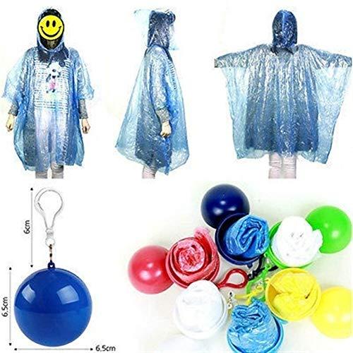 XIAOYUTOU Unisex-Regenmantel Tragbare Einweg-Regenjacke Poncho Rainwear Keyring Ball Raincoats (Color : Navy Blue, Size : One Size) Navy Blue Raincoat
