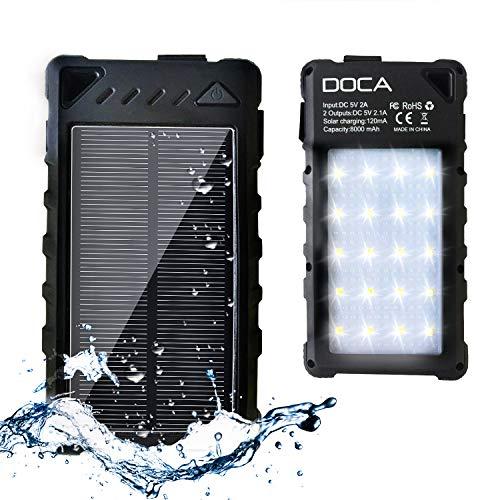 DOCA 8000mAh Universelles Tragbares Solar Ladegerät mit 2 USB Ausgänge 1A/2,1A und Eingang 5V/2A, für elektronische Produkte Wasserdicht toßfest Outdoor Ausrüstung mit LED Taschenlampe Powerbank -