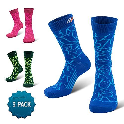 COMPRESSION FOR ATHLETES 3er Packung - CAMO Editions - Hochwertiger Quarter Socken von CFA Perfekt für alle Sportarten, Für Männer und Frauen. In der EU hergestellt. (Blau Camo 3-Paare, 47-50) -