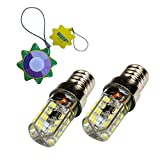 HQRP Due lampadine a LED E14 Base 64 SMD 3014 AC 110-220V Bianco freddo per luci di microonde / frigorifero