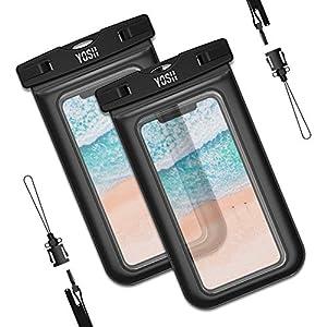 YOSH Funda Impermeable Móvil Universal 2 Unidades, IPX8 Certificado, Bolsa Sumergible para iPhone X 8 7 6s Samsung J5 J3 J7 S7 S8 S9 A5 Huawei P20 P10 P9 Lite y Otros Móviles hasta 6 Pulgadas (Negro)