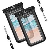 YOSH Wasserdichte Handyhülle Tasche(2 Stück) Schnorcheln Tauchen Schwimmen Kanu Wanderung Unterwasser für iPhone X/8/7/6/6s Plus Samsung S9/S8/S7/S6/S5/A5 Huawei Xiaomi bis zu 6 Zoll (schwarz)