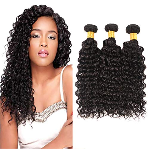 Huarisi Brazilian Hair Deep Wave Virgin Hair 3 Bundles 100% Unprocessed Human Hair Deep Curl Weave Extensions Pack of 22 24 26 Inches 100g/pcs