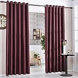2X Cortinas Opacas Térmicas para ventana salon dormitorio decoracion 140 x 260cm, 950g/pcs, Color Rojo Oscuro, Fresquita