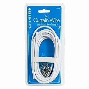 Invero® Cordon 4 Mètre longue fenêtre rideau blanc Fil net Cable Kit avec 16 Crochets et oeillets
