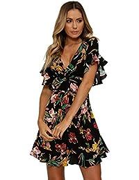 820ff5fac24c GreatestPAK Robes Robe bohème mi-Longue à Fleurs à Manches Courtes pour  Femmes Maxi fête d