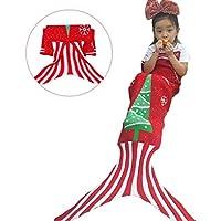 A mano a maglia Mermaid Tail Coperta, Sofa Quilt sacco a pelo Soggiorno calda coperta per bambini e ragazzi, 55pollici x 16pollici - Rosso