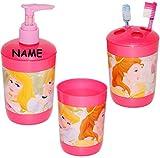 """3 tlg. Badset - Zahnputzset _ """" Disney Princess - Prinzessin """" - incl. Name - Seifenspender + Zahnputzbecher + Zahnbürstenhalter - z.B. für Zahnbürste - Kinder & Baby - Kinderzahnbürste & Babyzahnbürste - Mädchen - Putztrainer - Zähne putzen - Zähneputzen lernen - Pumpspender - Badezimmerset / Kinderset - Badezimmer - Belle"""
