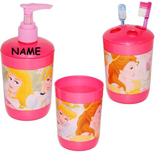 alles-meine.de GmbH 3 TLG. Badset - Zahnputzset _  Disney Princess - Prinzessin  - incl. Name - Seifenspender + Zahnputzbecher + Zahnbürstenhalter - z.B. für Zahnbürste - ()