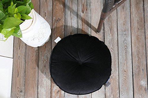 Aitliving rundes Knopfkissen, gefüllt, in rosa, gelb, grau, schwarz, blau, türkisgrün, Sitzkissen aus Baumwolle und Samt 43x 43cm, als Bodenkissen 50x 50cm, baumwolle, schwarz, Dia.43cm/17