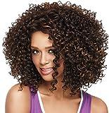 peluca rizada Pelucas de pelo corto rizado; pelucas de pelo afro rizado para mujeres negras. Pelucas sintéticas con flequillos resistentes al calor, de color negro.