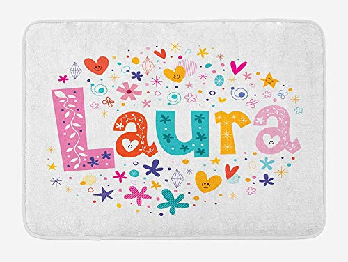 tgyew Laura Bath Mat, Baby Girl Name with Vintage Doodle Style Flowers and Stars Colorful Illustration, Plush Bathroom Decor Mat with Non Slip Backing, 23.6 W X 15.7 W Inches, Multicolor Laura Slip