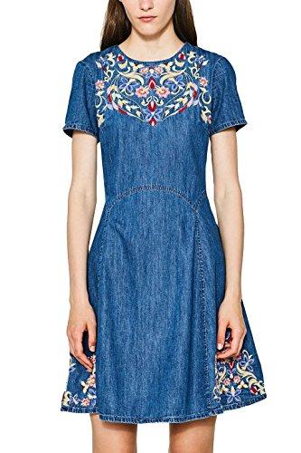 edc by ESPRIT Damen Kleid 087CC1E013 Blau (Blue Medium Wash 902), X-Small