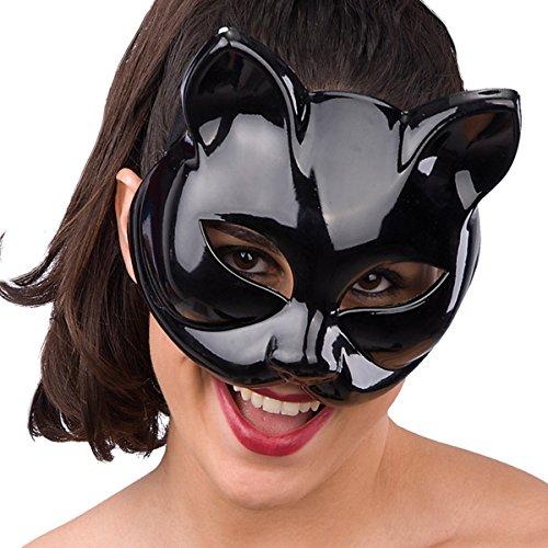 Carnival Toys 00798 - Maske für Erwachsene -schwarze Katze, PVC (Für Katze Maske Erwachsene)