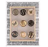 Motiv Design Reißzwecken Büro 9 Stück Set Pinnwand Nadeln Memoboard gold schwarz