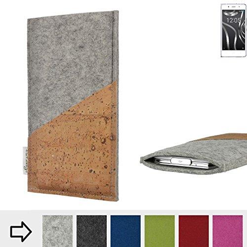flat.design Handytasche Evora mit Korktasche für BQ Readers Aquaris X5 Plus - Schutz Case Etui Filz Made in Germany in hellgrau mit Korkstoff - passgenaue Handy Hülle für BQ Readers Aquaris X5 Plus