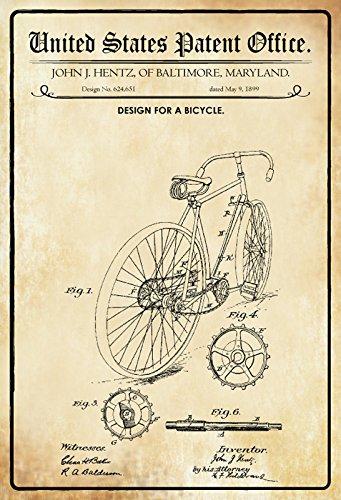 ComCard US Patente - Design for A bicycle - Entwurf für ein Fahrrad - Hentz, Maryland 1899 - Design No 624.651 - schild aus blech, metal sign, tin (Schild Fahrrad)