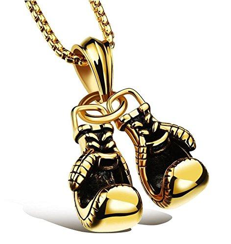 Duojincai - Collar para hombre, estilo punk, cadena de color dorado, par de guantes de boxeo, colgante para regalo