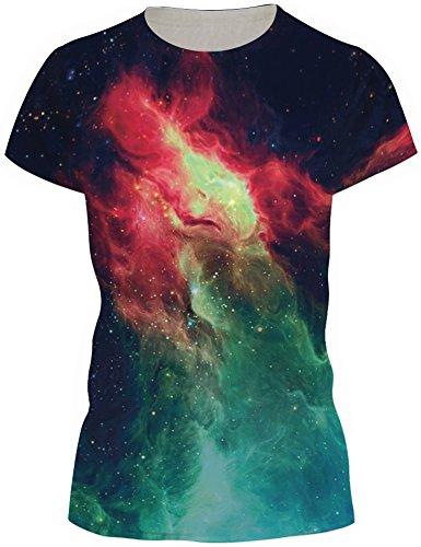 TDOLAH Damen T-Shirt Print Shirt Tee Paar Kostüm Fasching Weltraum Thema (XL / XXL, Rot & Grün (Kostüm Thema T Shirts Heißes)