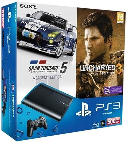 Console PS3 Ultra slim 500 Go noire + Gran Turismo 5 - édition academy + Uncharted 3 : l'illusion de Drake - édition jeu de l'année - Jeux en version tchèque, français disponible