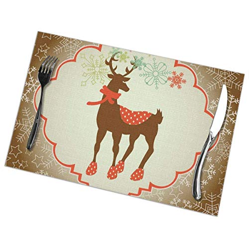 uytrgh Platzdeckchen mit weihnachtlicher Karte Vektorbild, waschbar,