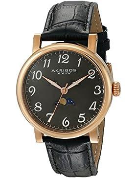 Akribos XXIV Herren Retro Multifunktions rose-tone Edelstahl schwarz Lederband Armbanduhr