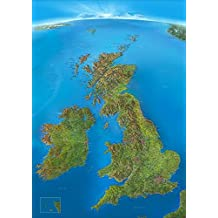 Panoramakarte Britische Inseln: mit Schottland, England, Irland, Wales und Nordirland