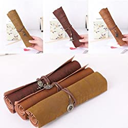 KingSo(TM) 1pcs Retro Vintage PU Leather Pirates Map Engraved Pencil Roll Up Case Bag Pen Pouch