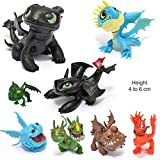 New Celebration 8pcs Dragon Toys PVC Assorted How to Train Your Dragon 4 to 6cm Action Figures Night Fury Toothless Dragons Birthday Party Favour Loot Bag Fillers