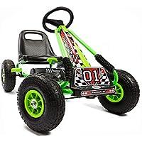 Kiddo by Raygar Racer - Kart de Pedales para niños (Asiento Ajustable, Ruedas de Goma para niños de 4 a 8 años), Color Verde