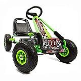 Kiddo RG0208 Kinder-Pedal mit Racer-Design, Kinderpedal, Go-Kart Fahrzeug, Verstellbarer Sitz, Gummireifen, geeignet für 4 bis 8 Jahre, Grün