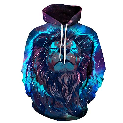 GEFANENR Sweatshirts with Hat 3D Men/Women Thin Blue Flame Lion Animal Fashion Hooded,Picture,XXXL (Ear Animal Cuff)