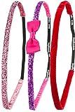 Confezione da 3Ivybands fascia anti-scivolo per capelli, Rosa Red Edition, Fresco Rosa brillantini, fiocchi glitter, colore: rosso velluto SuperThin taglia unica, IVY506IVY500IVY423