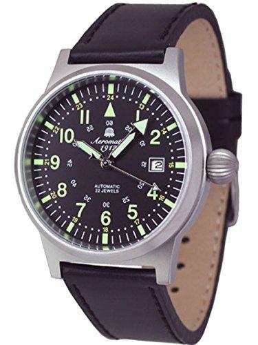 Aeromatic 1912 A1418 - Reloj , correa de piel de borrego color negro