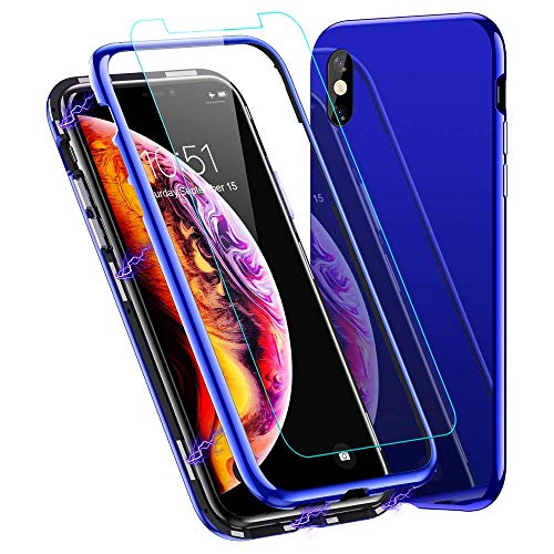 LCHULLE Magnetic Adsorption Case for iPhone 7 iPhone 8 Case 360 Full Body Protection Front Tempered Glass Screen Coverage Two-Piece Design Flip Cover [Support Wireless Charge] Hard Back Cover Blue Crystal Protection Phone Case