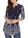 Dokotoo Femme T-shirt Manche 3 4 Imprime Fleur Tunique Lache Blouse Femme et Top Chic, Bleu Marrine, S(EU 36-38)...
